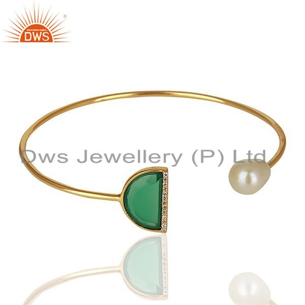 Exporter Handmade 925 Silver Pearl and Green Onyx Gemstone Cuff Bracelet