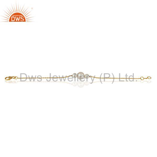 Exporter Natural Pearl Gold Plated 925 Silver Chain Bracelet Wholesale