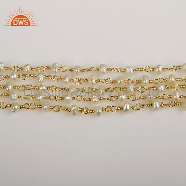 Exporter Natural Beaded Pearl 925 Silver Gold Plated Multi Strand Bracelet