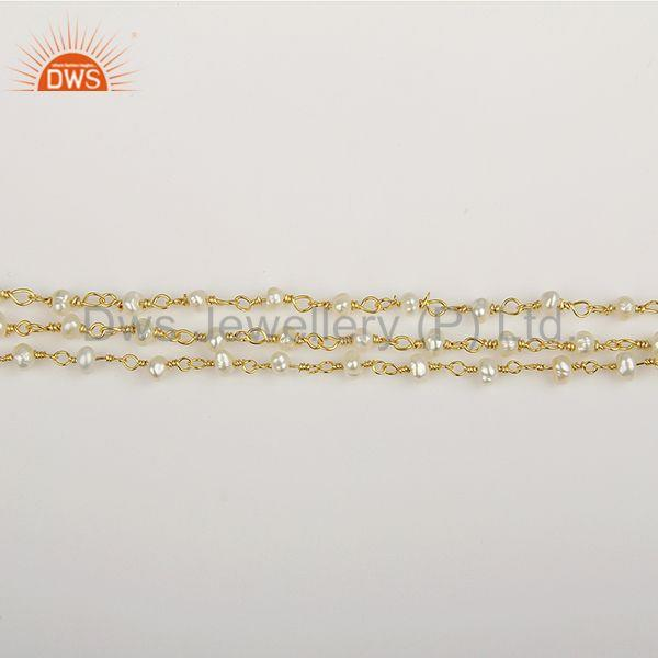 Exporter Multi Strand 925 Silver Gold Plated Beaded Pearl Bracelet Manufacturer