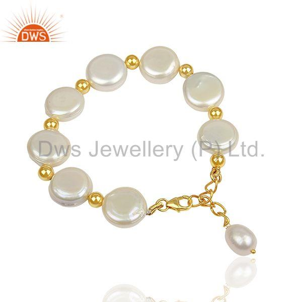 Exporter Natural Pearl Gold Plated Solid Silver Chain bracelet Manufacturer