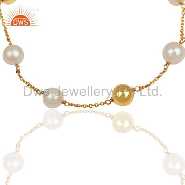 Exporter Natural Pearl and Gold Plated 925 Silver Ball Beads Chain Bracelet