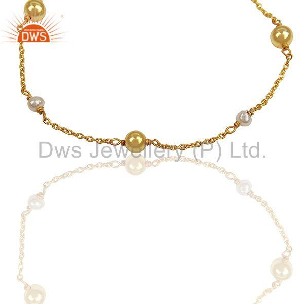 Exporter Designer Roung Pearl and Solid Silver Ball Beads Gold Plated Bracelet