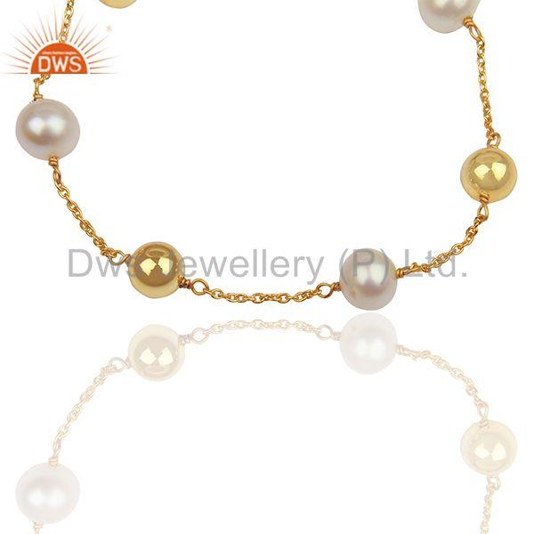 Exporter Round Pearl and 925 Silver Ball Gold Plated Chain Bracelet Jewelry