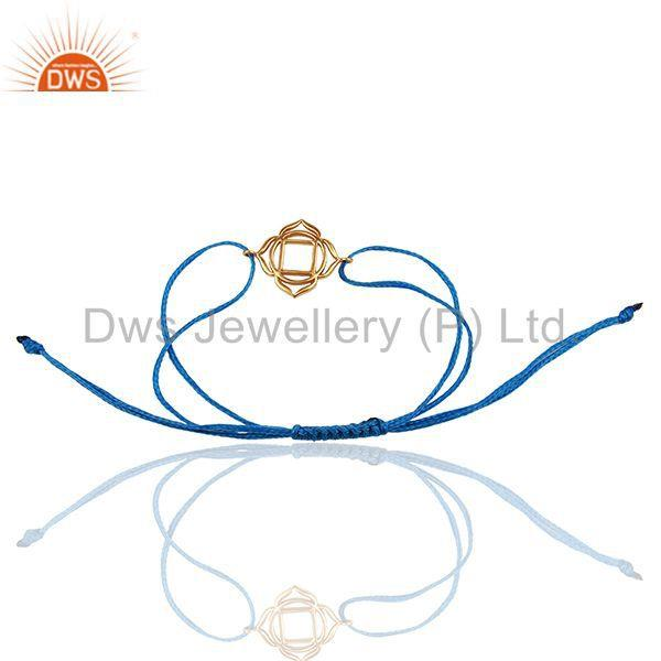 Exporter Muladhara Chakra 925 Sterling Silver Rose Gold Plated On Blue Thread Bracelet
