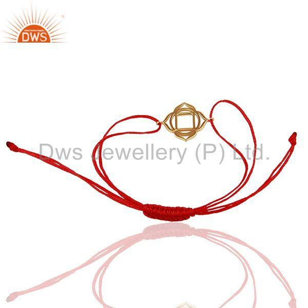 Exporter Muladhara Chakra 925 Sterling Silver Rose Gold Plated On Red Thread Bracelet