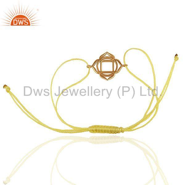 Exporter Muladhara Chakra 925 Sterling Silver Rose Gold Plated On Yellow Thread Bracelet