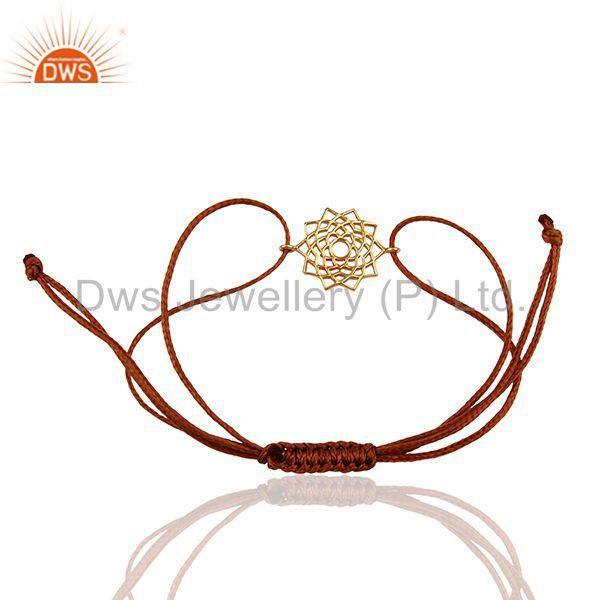 Exporter Sahasrara 925 Sterling Silver Rose Gold Plated On Brown Thread Bracelet Jewelry