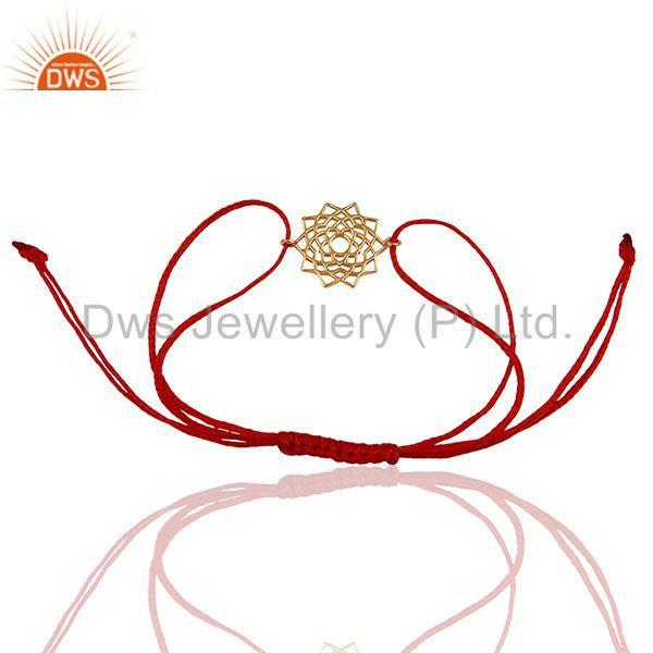Exporter Sahasrara 925 Sterling Silver Rose Gold Plated On Dark Red Thread Bracelet