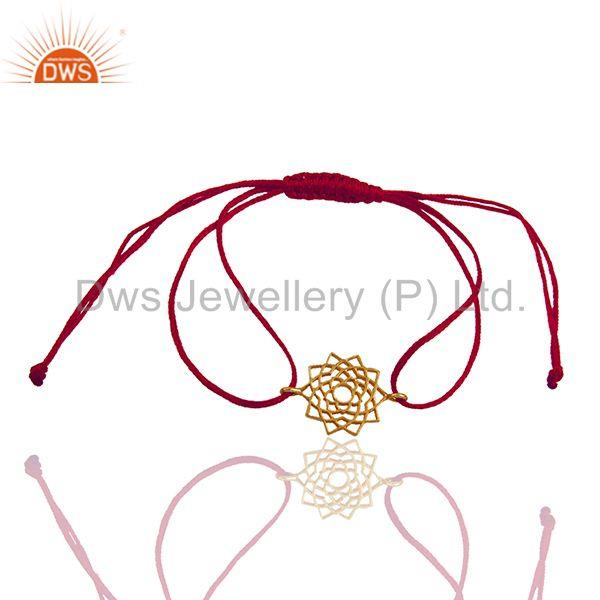 Exporter Pink Thread Adjustable Gold Plated Silver Charm Bracelet Manufacturer