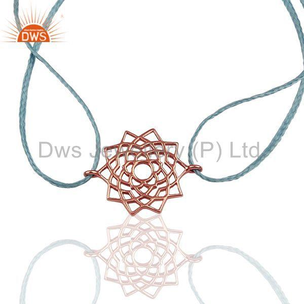 Exporter Sahasrara 925 Sterling Silver Rose Gold Plated On Sky Blue Thread Bracelet