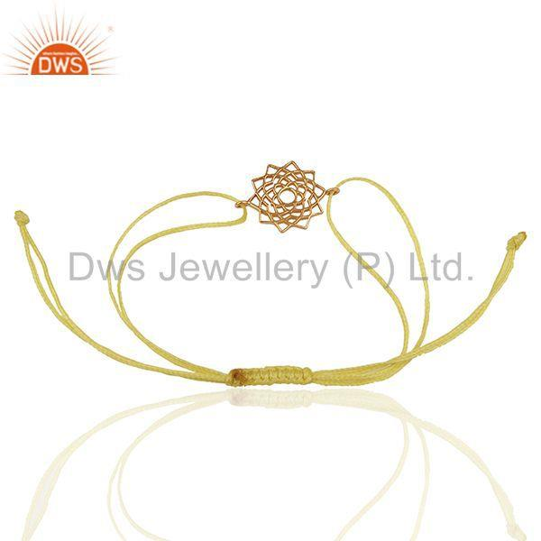 Exporter Sahasrara 925 Sterling Silver Rose Gold Plated On Yellow Thread Bracelet Jewelry