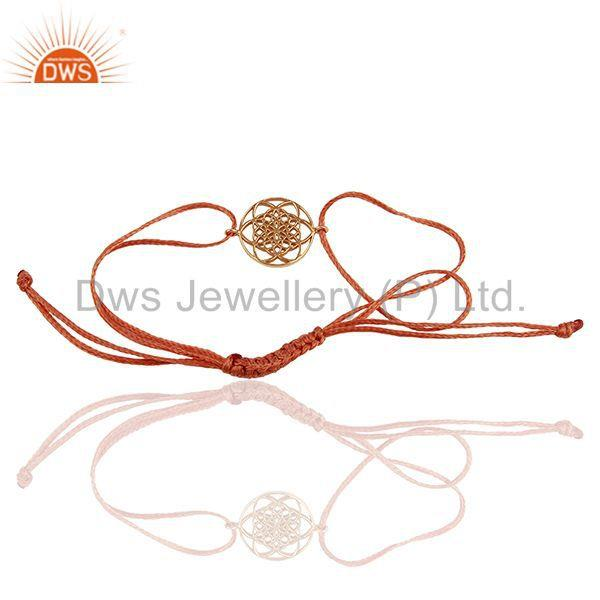 Exporter Flower Of Life 925 Sterling Silver Rose Gold Plated Orange Thread Bracelet
