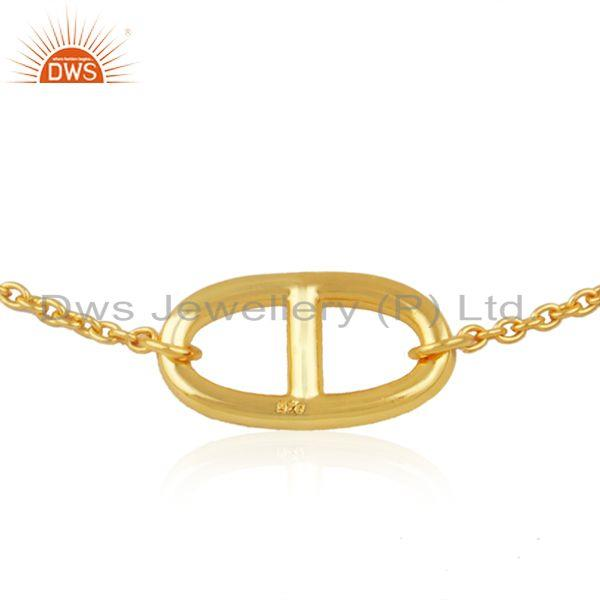 Exporter Chain and LInk Yellow Gold Plated 925 Silver Bracelet Manufacturer from Jaipur