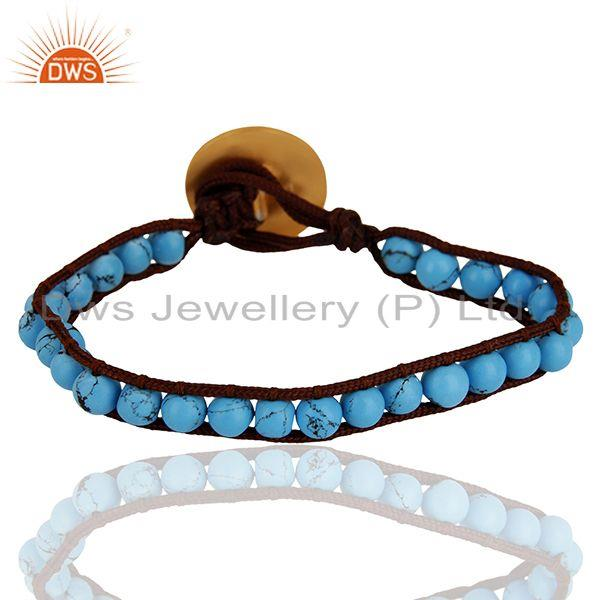 Exporter Round Turquoise Gemstone 925 Silver Gold Plated Bracelet Jewelry