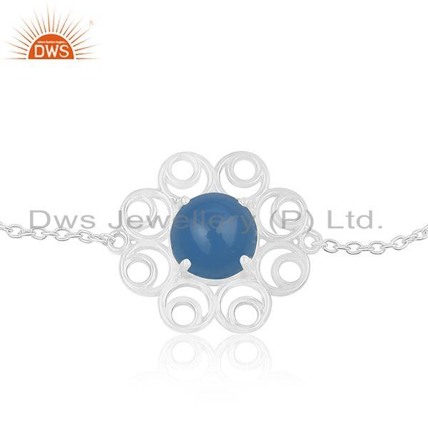 Supplier of Floral Design 925 Sterling Fine Silver Blue Chalcedony Gemstone Chain Bracelet