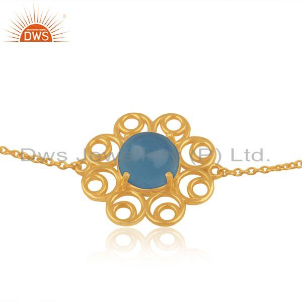 Supplier of Floral Gold Plated 925 Silver Blue Chalcedony Chain Bracelet Jewelry