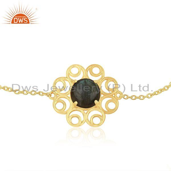 Supplier of 14k Gold Plated 925 Silver Natural Labradorite Gemtone Bracelet Wholesale