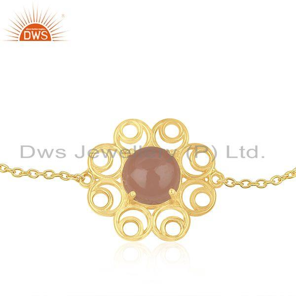 Supplier of New Designer 925 Silver Gold Plated Rose Chalcedony Gemstone Chain Bracelet