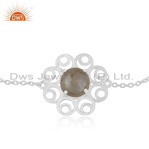 Supplier of Rainbow Moonstone 925 Sterling Silver Chain Bracelet Wholesale