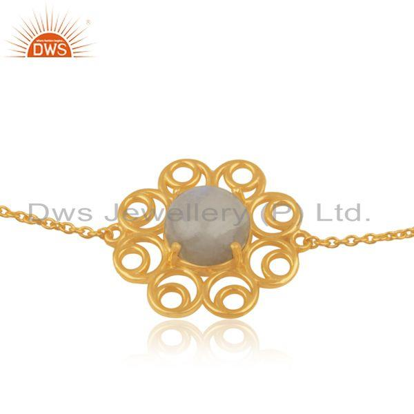 Supplier of Rainbow Moonstone Gold Plated Designer Silver Chain Bracelet Jewelry
