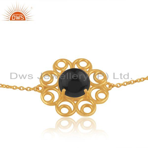 Supplier of Indian Gold Plated Silver Black Onyx Gemstone Bracelet Jewelry