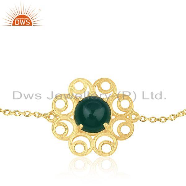 Supplier of 92.5 Silver Gold Plated Green Onyx Gemstone Floral Design Bracelet Manufacturers