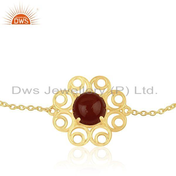 Supplier of Red Onyx Gemstone Gold Plated 925 Silver Designer Chain Bracelet for Womens