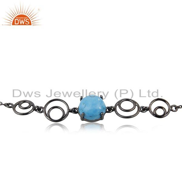 Supplier of 92.5 Silver Black Rhodium Plated Turquoise Gemstone Chain Bracelet Manufacturer