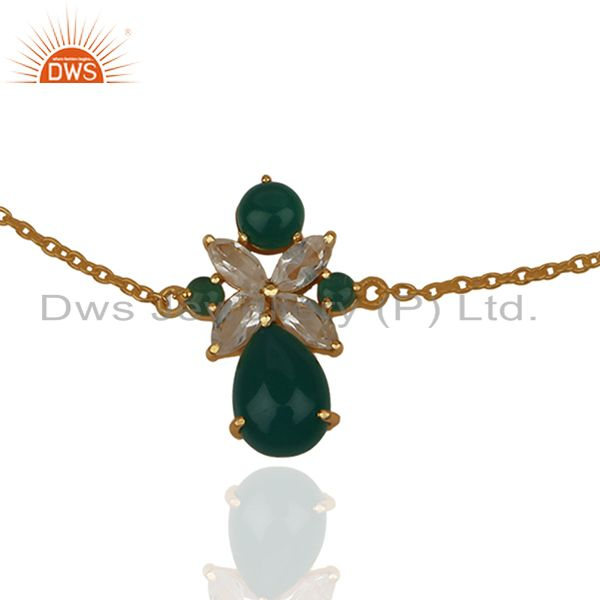 Exporter Crystal Quartz and Green Onyx Gemstone 925 Silver Bracelet Wholesale