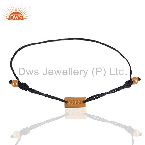 Exporter Rose Gold Plated Engraved Rock 925 Silver Bracelet Manufacturers