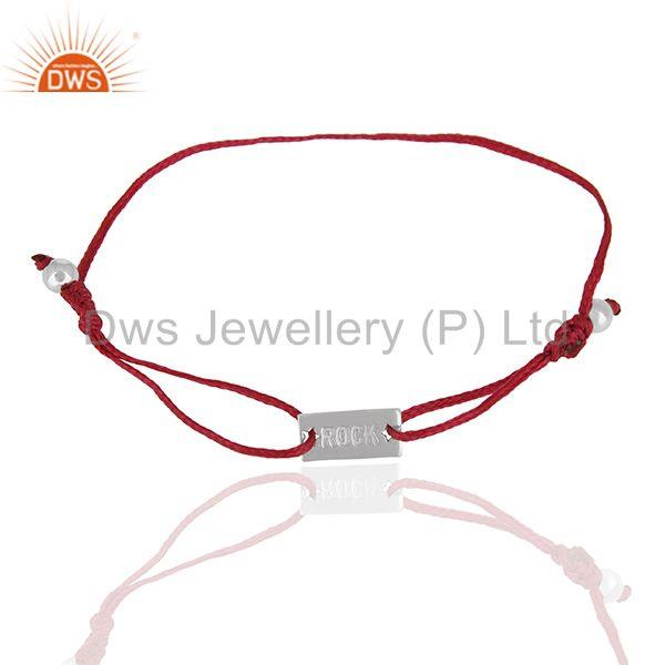 Exporter Handmade Pink Thread 92.5 Silver Adjustable Bracelet Wholesale