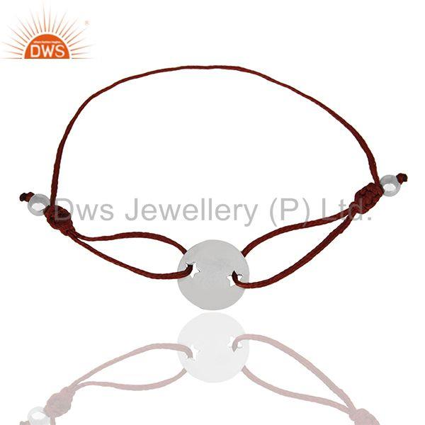 Exporter 925 Sterling Silver Adjustable Red Macrame Bracelet Manufacturers