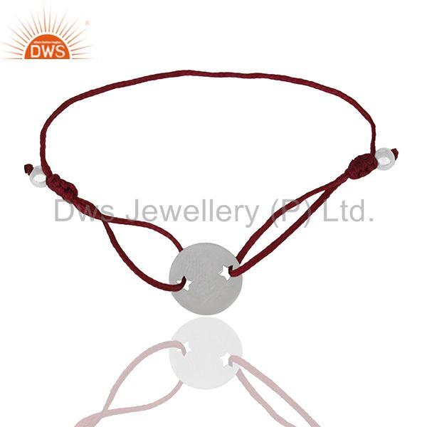 Exporter Plain 925 Sterling Silver Adjustable Macrame Bracelet Manufacturers