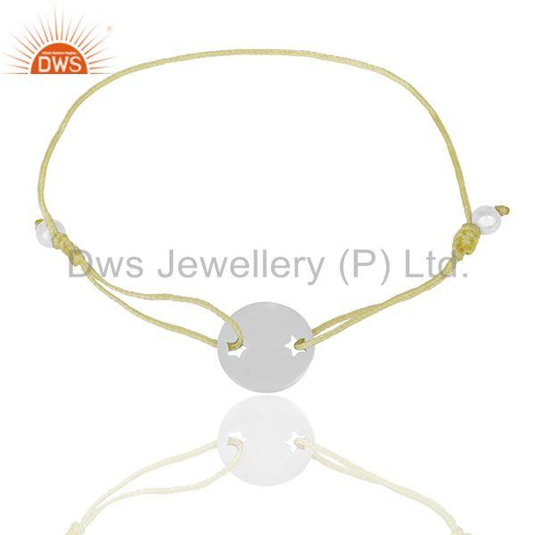 Exporter Yellow Macrame Adjustable Sterling 92.5 Silver Bracelet Manufacturers