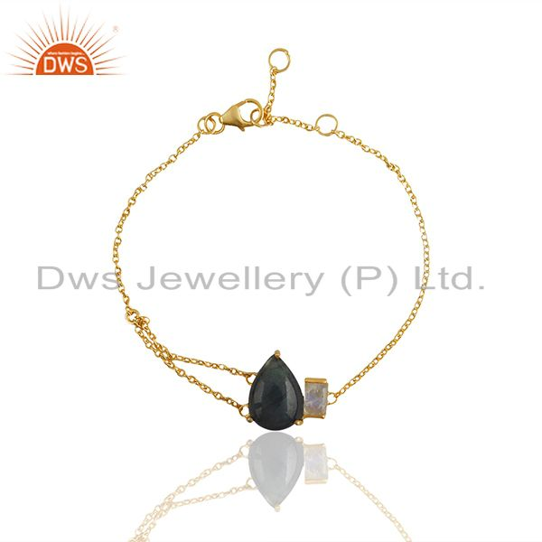 Exporter Labradorite Gemstone 92.5 Silver Gold Plated Chain Bracelet Jewelry