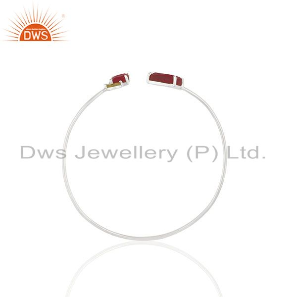 Wholesale Ruby and Peridot Gemstone 925 Silver Cuff Bracelet Manufacturer