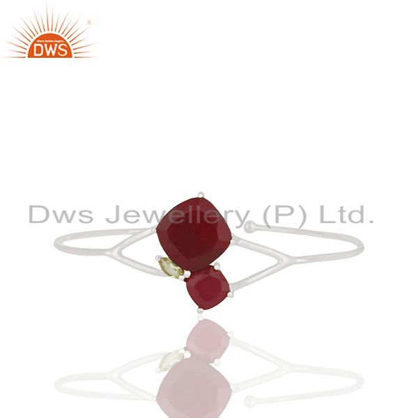 Wholesale 925 Silver Peridot and Red Ruby Gemstone Cuff Bracelet Wholesale