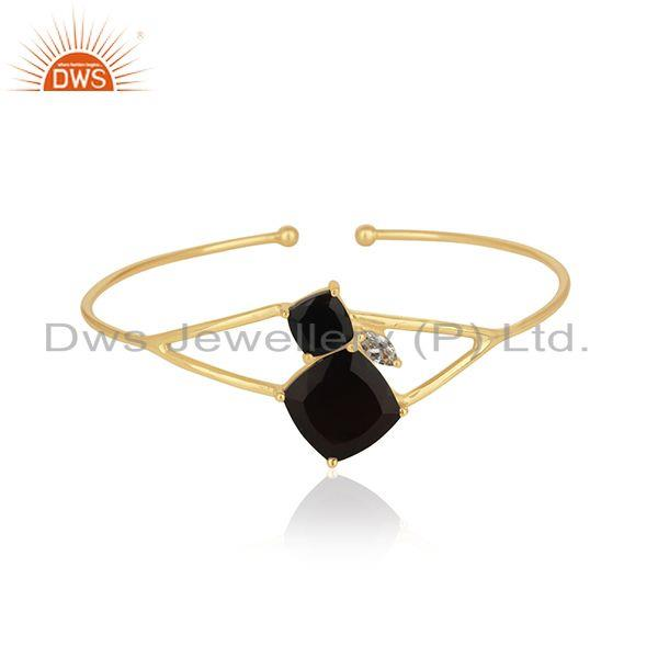 Wholesale Black Onyx Gemstone Handmade 14k Gold Plated 925 Silver Cuff Bracelet Wholesale
