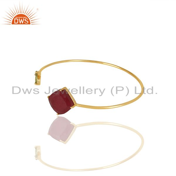 Wholesale Handmade 925 Silver Gold Plated Multi Gemstone Cuff Bracelet Supplier