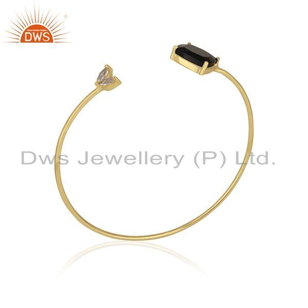 Exporter 18k Gold Plated 925 Sterling Silver Black Onyx Gemstone Cuff Bracelet Wholesale