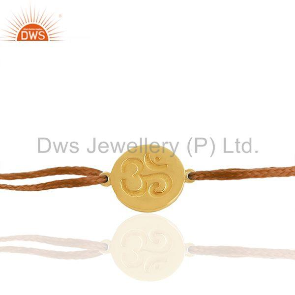 Exporter 18k Gold Plated 925 Silver Om Religious Adjustable Bracelet Wholesale