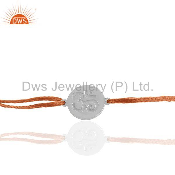 Exporter White Rhodium Plated Om Engraved Charm Bracelet Jewelry Manufacturers