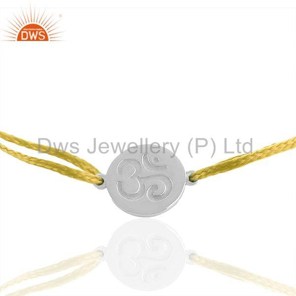 Exporter Adjustable Yellow Thread White 925 Sterling Silver Bracelet Wholesale