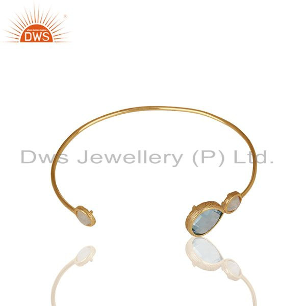Exporter Blue Topaz and Moonstone Rainbow Gemstone 925 Silver Cuff Bracelet