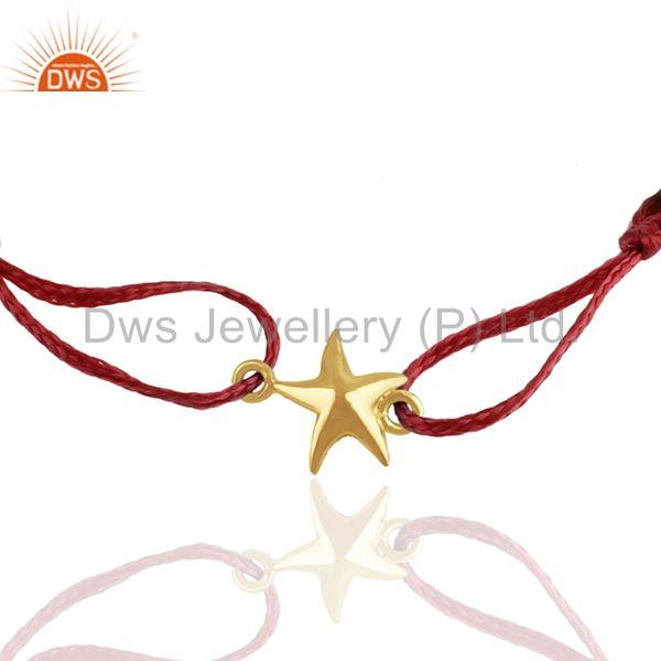 Exporter Solid 925 Silver Gold Plated Star Charm Macrame Bracelet Manufacturers