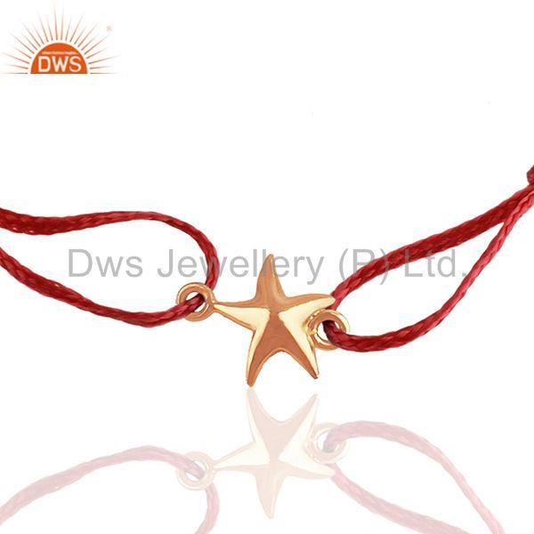 Exporter Red Cotton Thread Star Charm Gold Plated Sterling Silver Bracelet