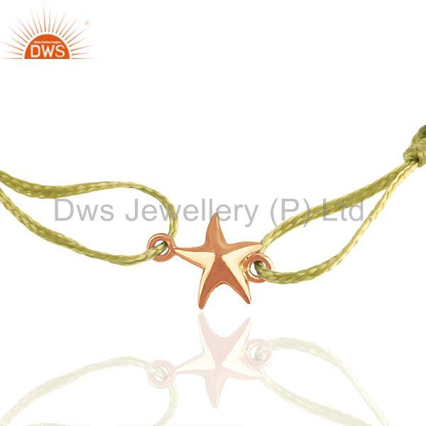 Exporter Rose Gold Plated 925 Silver Star Charm Yellow Macrame Unisex Bracelet
