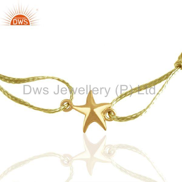 Exporter 925 Sterling Silver Star Charm Yellow Macrame Bracelet Manufacturer