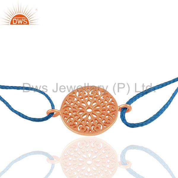 Exporter Handmade Blue Macrame Rose Gold Plated Silver Charm Bracelet Suppliers